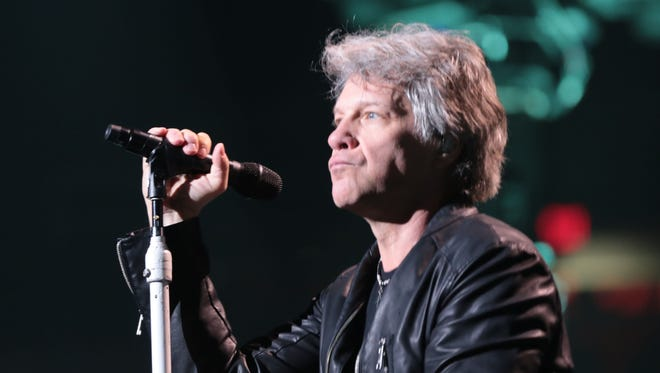The rock bank Bon Jovi, fronted by Jon Bon Jovi, played what might be the last rock concert at Joe Louis Arena in Detroit on Wednesday, March 29, 2017.