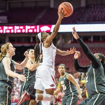 Arkansas guard Malica Monk (3) shoots a layup during a game between the Razorbacks and Vanderbilt Commodores on Monday night.
