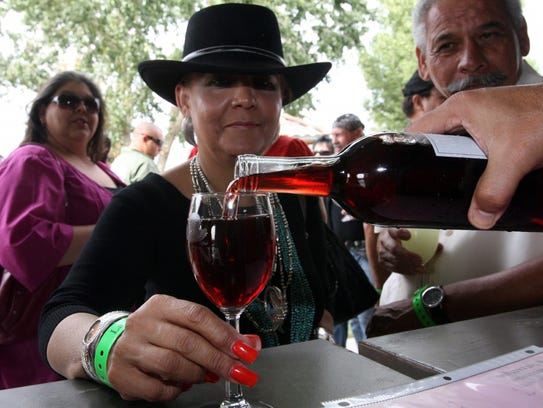 Festival-goers line up for wine samples at a recent