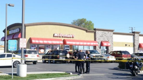 Oxnard police investigate an officer-involved shooting in February 2016 outside a McDonald's in the 3000 block of Saviers Road.