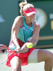 Angelique Kerber hits during her loss to Denisa Allertova during during the BNP Paribas in Indian Wells, March 12, 2016.