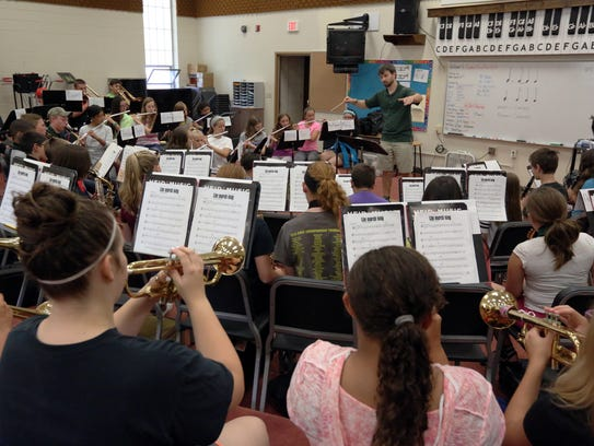 Summer Band Bash music students rehearse with Director
