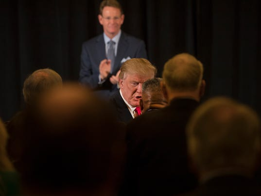 Donald Trump meets with military veterans at the Retired American Warriors Town Hall  in Herndon, Va.