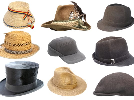 collection of isolated old hats