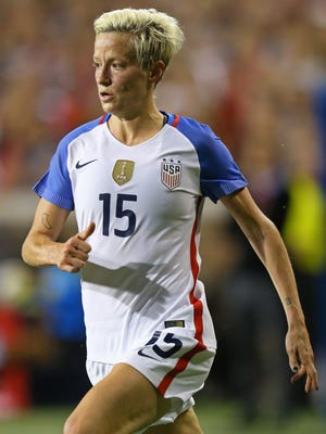 Sep 19, 2017: USA midfielder Megan Rapinoe (15) against New Zealand at Nippert Stadium, University of Cincinnati.