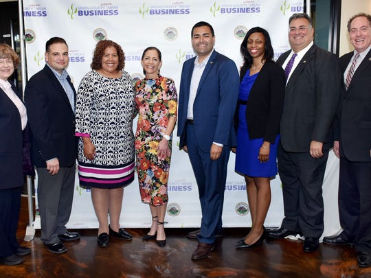 Union County Freeholder Chairman Sergio Granados, Vice Chairman Bette Jane Kowalski and Freeholders Bruce H. Bergen, Alexander Mirabella, Linda Carter and Angela R. Garretson welcome New Jersey's First Lady Tammy Snyder Murphy to the sixth annual Union County Women Mean Business (UCWMB) Summit at the Clubhouse at the Galloping Hill Golf Course in Kenilworth. They were joined state Senator Nicholas Scutari. First Lady Murphy delivered the keynote address at the event that was designed to help women grow their business networks and build critical skills. UCWMB is an initiative of the Union County Board of Chosen Freeholders.