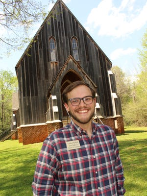 Landon Nichols of the Selma-Dallas County Chamber of Commerce stands in front of St. Luke's Episcopal Church at Old Cahawba.