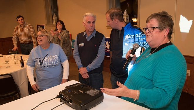 The top four vote getters, in order are, at right, Laura Toy, center right, Jim Jolley, left , Cathy White, and center left, Brian Meakin.