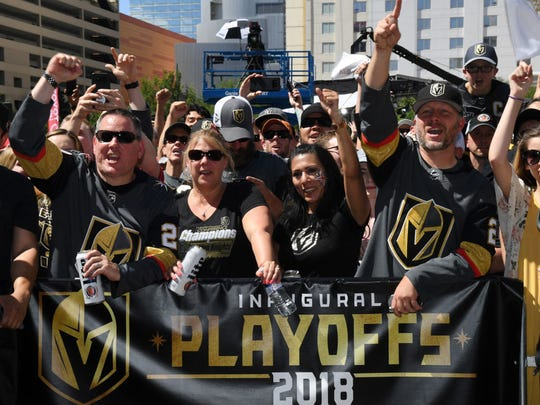 LAS VEGAS, NV - MAY 28:  Vegas Golden Knights fans cheer at Toshiba Plaza outside T-Mobile Arena before Game One of the 2018 NHL Stanley Cup Final between the Golden Knights and the Washington Capitals on May 28, 2018 in Las Vegas, Nevada. The Golden Knights defeated the Capitals 6-4.
