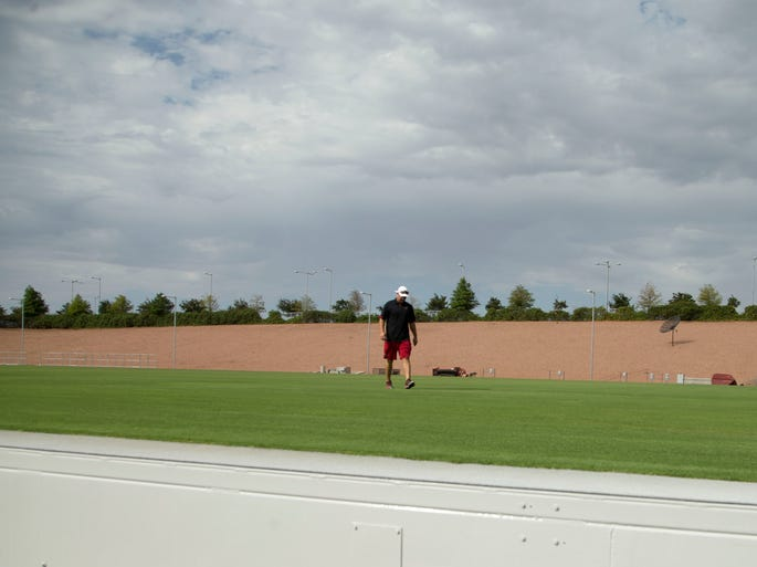 Andy Levy, who is head of the Cardinals' turf crew, walks the turf field at the University of Phoenix Stadium in Glendale.