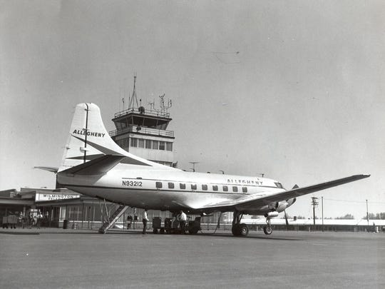 An Allegheny Airlines plane is seen on the tarmac at Greater Wilmington Airport on May 7, 1963.