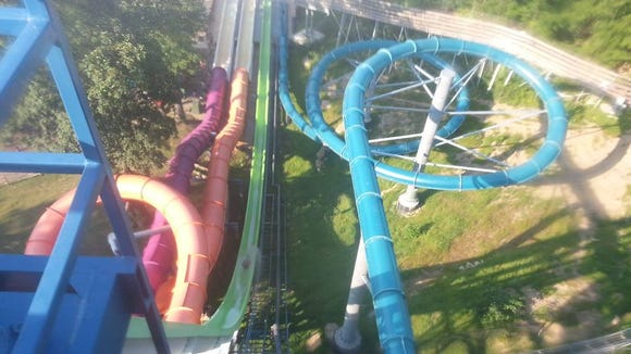 View from the top. H2-oh-no is the green slide on the left and Zero G is the blue slide on the right