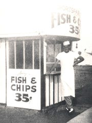 Pete Grant relaxes in front of the original Pete's Fish and Chips location near 31st and Van Buren streets in Phoenix.