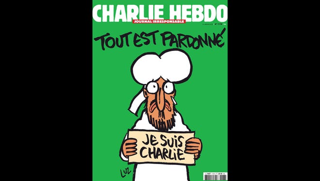 """The cover of the upcoming """"survivors"""" edition of the French satirical weekly """"Charlie Hebdo."""""""