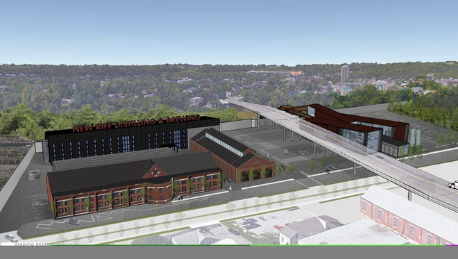 A rendering of New Riff's new campus in Newport near the 11th Street bridge.