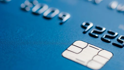 Photo of a chip-enabled credit card.