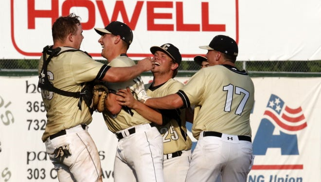 Corning players celebrate after they beat Horseheads, 4-1, in the Section 4 Class AA championship game Thursday at Dunn Field.