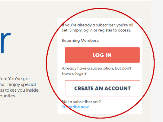 "The ""log in"" and ""create an account"" links are on the"