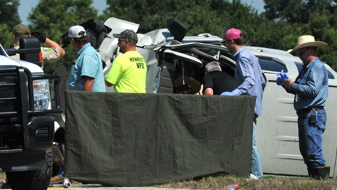 Clay County deputies and Texas Department of Public Safety troopers work the scene of a fatal accident Tuesday afternoon 3 miles north of Henrietta on U.S. 287.