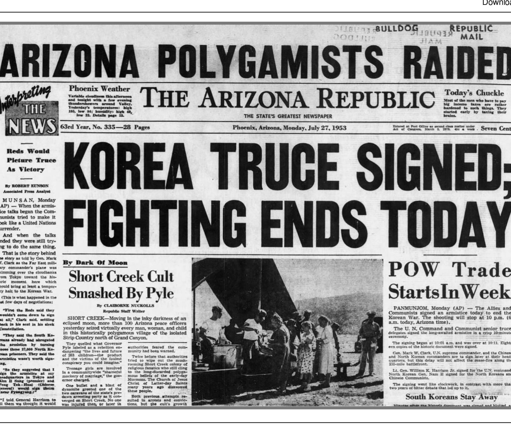 A copy of the front page of The Arizona Republic on July 27, 1953, following the raid on Short Creek.