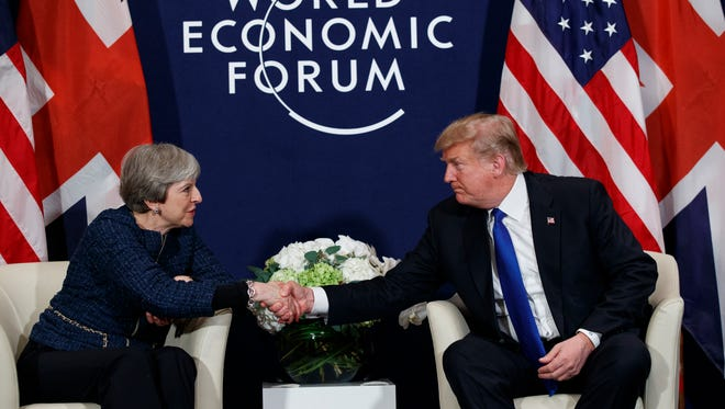 President Trump meets with British Prime Minister Theresa May at the World Economic Forum, on Jan. 25, 2018, in Davos, Switzerland.