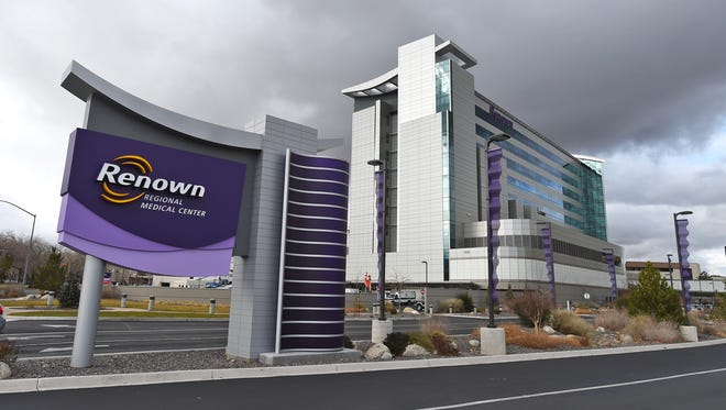 A file photo showing the outside of Renown Regional Medical Center in Reno. Hospital employees say scammers have been posing as medical staff and calling patients demanding for payment and credit card information.