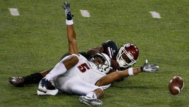 UTEP line backer Nik Needham almost pulled off the interception just before the half but prevented a catch by an NMSU receiver. UTEP entered the locker room down 21-7.