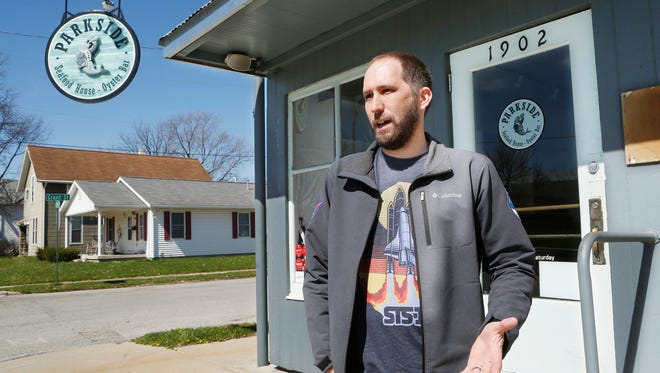 Jason Behenna talks Friday, April 20, 2018, about the brew pub he hopes to open in the former Parkside Seafood House - Oyster Bar at 1902 Scott Street in Lafayette. Pending approval by the city, Behenna plans to open Escape Velocity Brewing Company at the site. In addition to craft beer, Escape Velocity Brewing Company will feature a vegetarian and vegan menu.