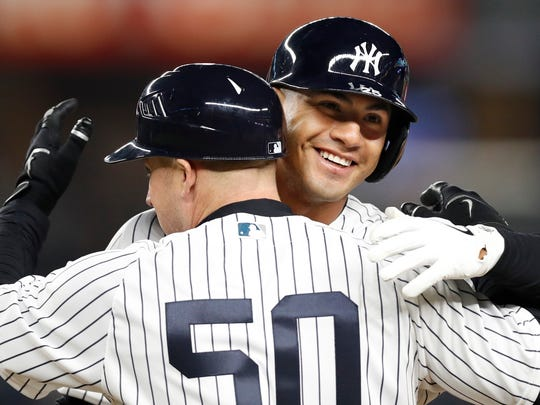 Gleyber Torres embraces New York Yankees first base