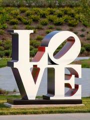 """""""LOVE"""" (1966-'99), by artist Robert Indiana, part of Sculpture Milwaukee 2018."""