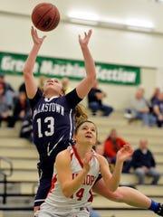 Dallastown's Julia Sutton shoots against Susquehannock's
