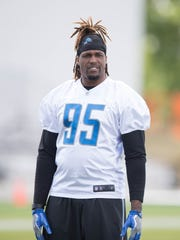 Detroit Lions defensive lineman Armonty Bryant watches drills during organized team activities Tuesday, June 6, 2017 at the practice facility in Allen Park.