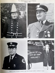 Photos of four generations of York City firefighters are shown in a book Wednesday, Oct. 18, 2017, in Manchester Township. Top left is Calvin Landis; top right is Calvin's son Tom Landis Sr.; bottom left is Tom Landis Jr; and bottom right is Tom Jr.'s son Brian Landis. Tom Landis Jr., who began serving with the York City Department of Fire/Rescue Services in 1957 and was chief from 1995 to 1998 before retiring, died Sunday, Oct. 15, 2017, at age 86. Landis was also the third of four generations of York City firefighters.