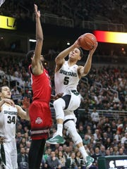 Michigan State Spartans Bryn Forbes scores against