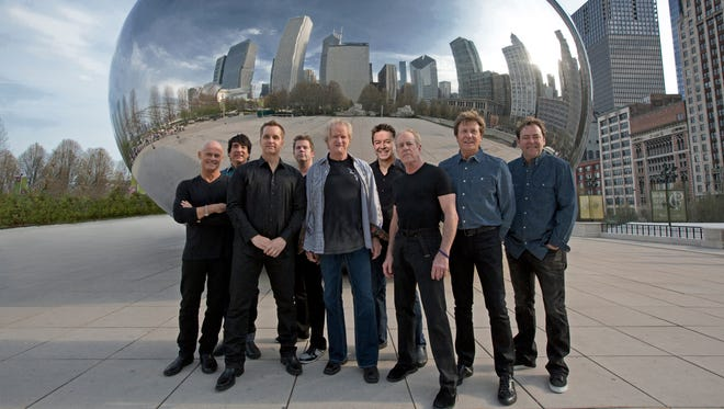 The members of Chicago, from left: Tris Imboden, Wally Reyes, Jr., Jason Scheff, Keith Howland, Lee Loughnane, Walt Parazaider, Jimmy Pankow, Robert Lamm and Lou Pardini.