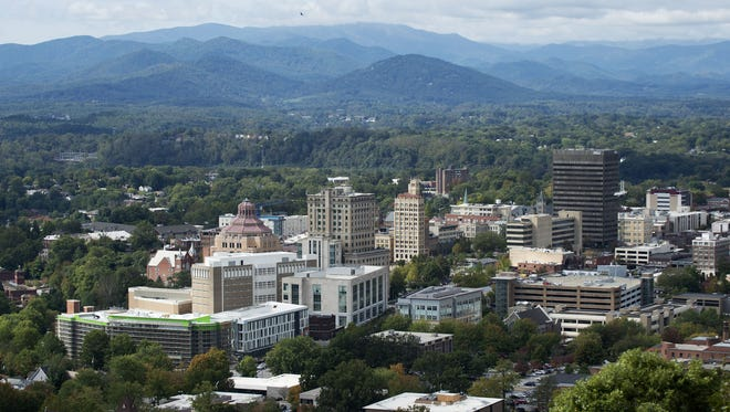 Looking west over downtown Asheville North Carolina Wednesday Sept. 30, 2015.