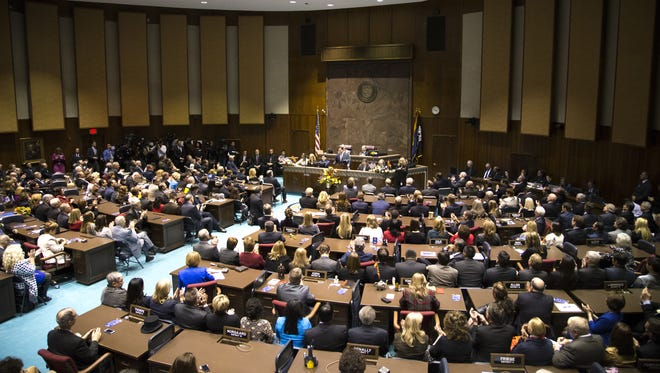 Gov. Doug Ducey speaks during his State of the State address on Jan. 11, 2016.