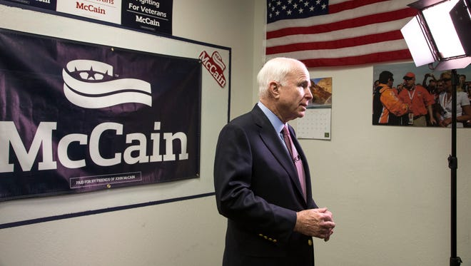 Sen. John McCain, R-Ariz., is interviewed after a May 6, 2016, event at his campaign headquarters in Phoenix.