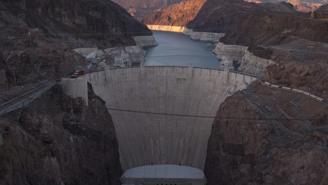 """Hoover Dam and Lake Mead photographed from the Mike O'Callaghan–Pat Tillman Memorial Bridge, on June 19, 2015. A high-water mark or """"bathtub ring"""" is visible on the shoreline."""