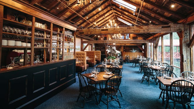 Guests can enjoy waterfall views and elevated farm-to-table fare in the formal dining room or more casual eats in the tavern. There's also a lofted space for private events.
