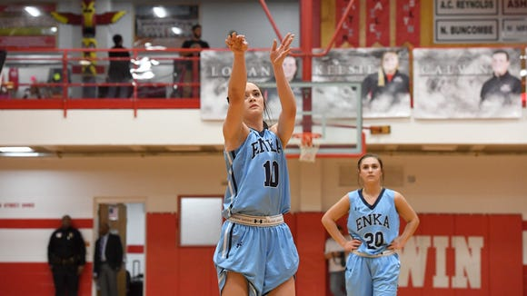 Enka's Emily Carver rolled her shorts up to shoot a free throw during the WMAC tournament at Erwin High School on Wednesday, Feb. 14, 2018.