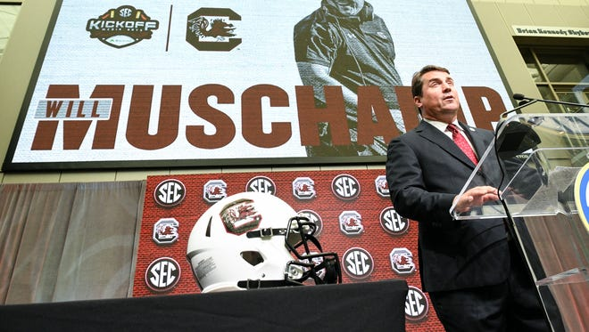 NCAA college football head coach Will Muschamp of South Carolina speaks during the Southeastern Conference Media Days at the College Football Hall of Fame in Atlanta, Thursday, July 19, 2018.