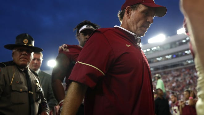 FSU Head Coach Jimbo Fisher walks off the field after thier 24-20 loss to Miami at Doak Campbell Stadium on Saturday, Oct. 7, 2017.
