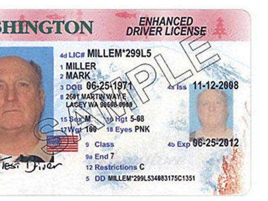 A sample Washington state enhanced drivers license