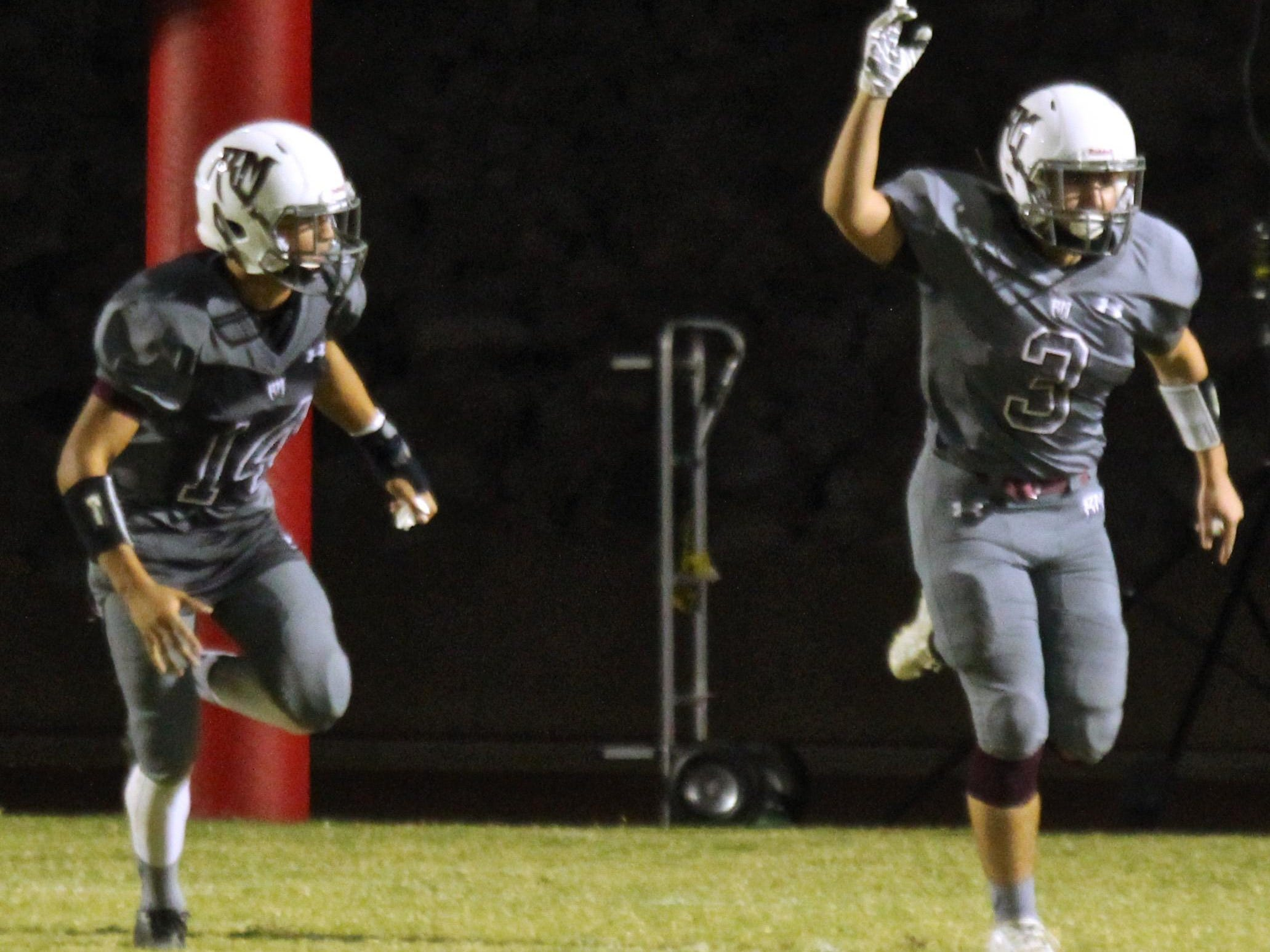 Rattlers' Sergio Julian III (3) celebrates after his team recovered a fumble against Tahquitz.
