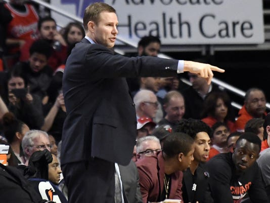 Chicago Bulls coach Fred Hoiberg gestures to his team during the second half of an NBA basketball game against the Brooklyn Nets in Chicago, Wednesday, April 12, 2017. The Bulls won 112-73. (AP Photo/David Banks)