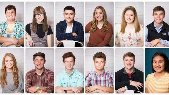 Top row, from left: Mason Terrill, Bryona Schiller, Ethan Marmolejo, Aubrie Harris, Shelby Wilson, Beau Bronniman, Bottom row, from left: Ashlynn Patteson, Andrew Huff, Joseph Burcham, Jason Smith, Landon Harris, Brianna Castaneda