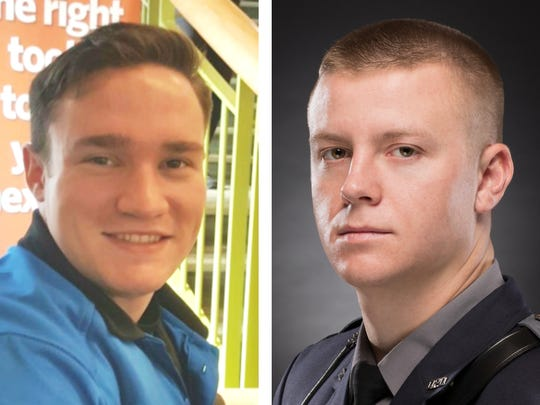 Cadet James Watts (left) and Patrolman Robert DaFonte of the Dover Police Department were killed in an early morning accident Sunday in West Dover.