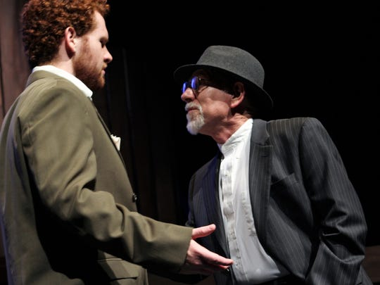 """Griffin Jones, left, is suitor Bassanio while Adam Hester is money-lender Shylock in """"The Merchant of Venice,"""" which opened Thursday at Fulks Theatre on the Abilene Christian University campus."""