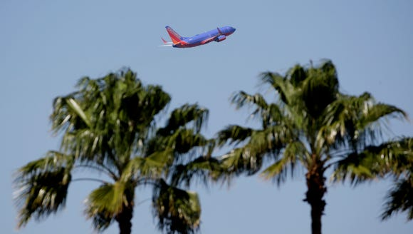 A Southwest Airlines jet takes off from Tampa International
